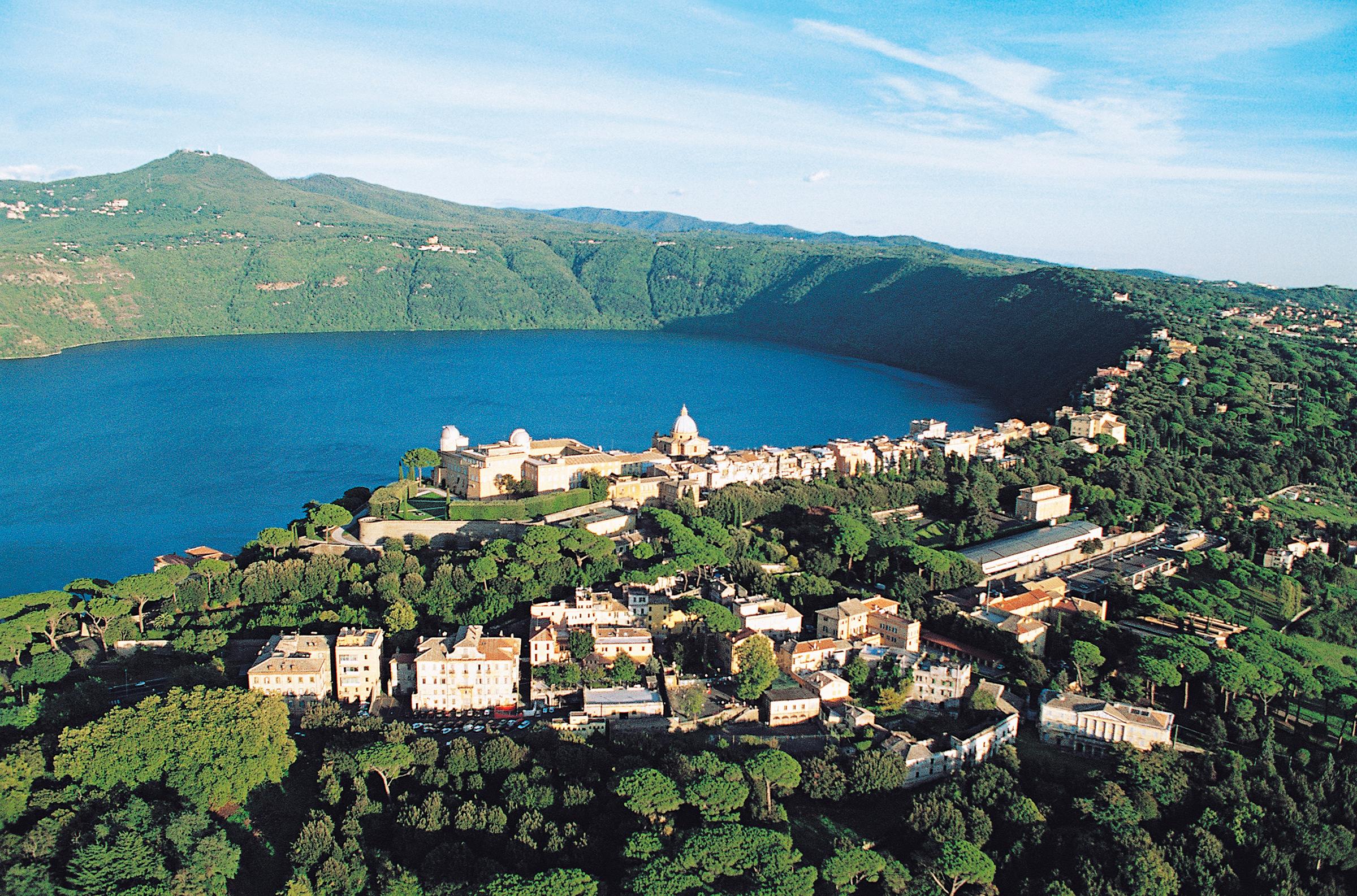 Aerial view of Castel Gandolfo, Lake Albano and the Alban Hills, Lazio, Italy.
